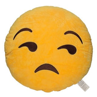 Emoji Flouting Yellow Round Plush Pillow
