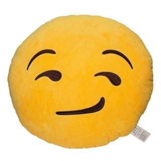 Emoji Smirking Yellow Round Plush Pillow