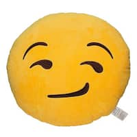 Emoji Smirking Yellow Round Plush Pillow
