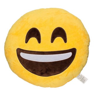 Emoji Laughing Yellow Round Plush Pillow