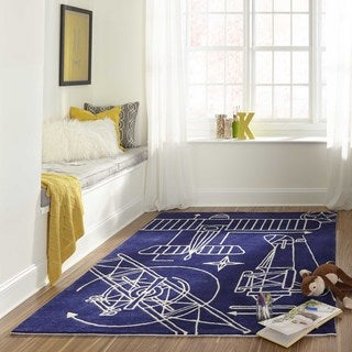 Momeni Lil Mo Hipster Navy Airplane Blueprint Hand-Tufted Rug (4' X 6')