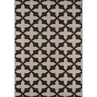 "Momeni Baja Crisscross Charcoal Indoor/Outdoor Area Rug - 8'6"" x 13'"