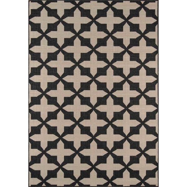 "Momeni Baja Crisscross Charcoal Indoor/Outdoor Area Rug - 7'10"" x 10'10"""