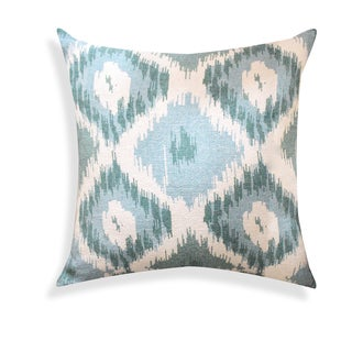 Hand-crafted Shaded Ikat Designer Blue 18-inch Throw Pillow