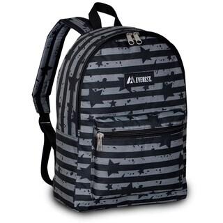 Everest 15-inch Basic Grey Stripes Backpack with Padded Shoulder Straps