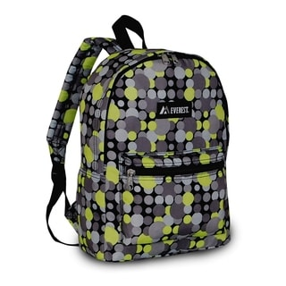 Everest 15-inch Basic Yellow and Grey Polka Dot Backpack with Padded Shoulder Straps
