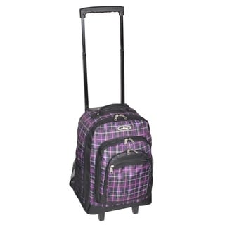 Everest 18-inch Purple Plaid Wheeled Backpack