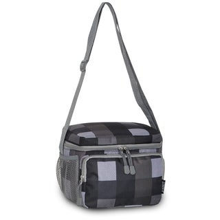 Everest Charcoal and Grey Plaid Shoulder Lunch Tote