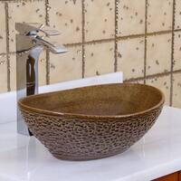 Elite 1551 Oval Coffee Brown Glaze Porcelain Ceramic Bathroom Vessel Sink
