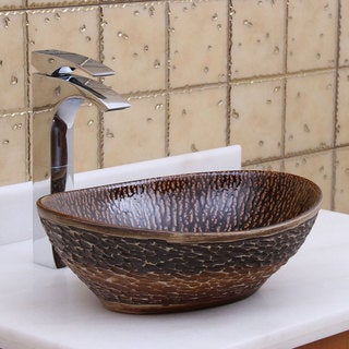 Elite 1552 Oval Bronze Glaze Porcelain Ceramic Bathroom Vessel Sink