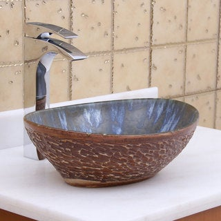 Elite 1553 Oval Brown Cloud Glaze Porcelain Ceramic Bathroom Vessel Sink
