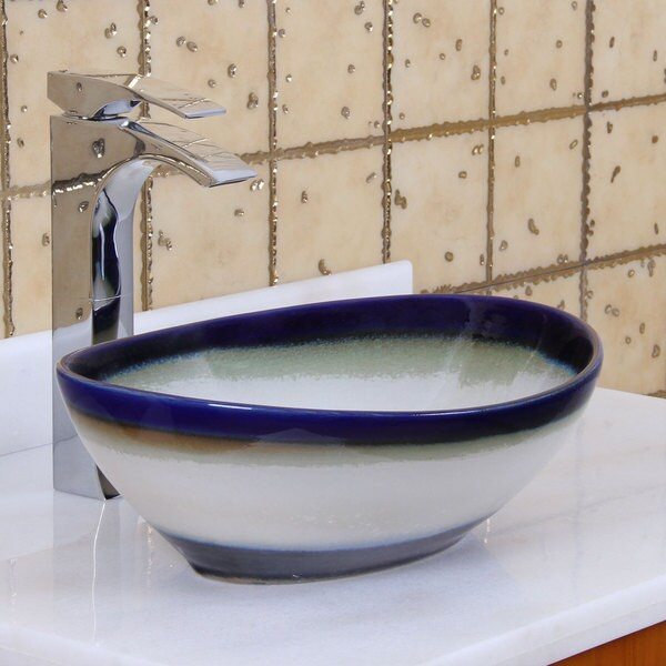 Beau Elite 1555 Oval Multicolor Glaze Porcelain Ceramic Bathroom Vessel Sink