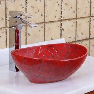 Elite 1557 Oval Red Rose Porcelain Ceramic Bathroom Vessel Sink
