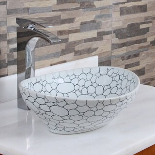 Elite 1558 Oval Cobblestone Pattern Porcelain Ceramic Bathroom Vessel Sink