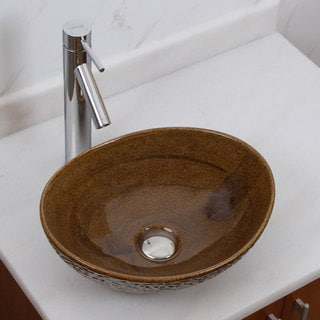 Elite 1551 2659 Oval Coffee Brown Glaze Porcelain Ceramic Bathroom Vessel Sink With Faucet Combo