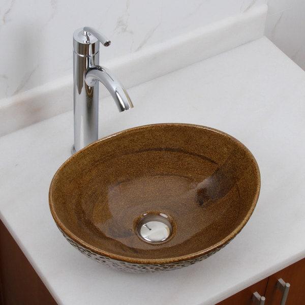 Elite 1551 882002 Oval Coffee Brown Glaze Porcelain Ceramic Bathroom Vessel Sink With Faucet Combo