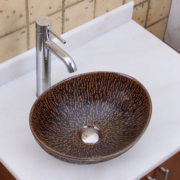 Shop Elite 1552 F371023 Oval Bronze Glaze Porcelain Ceramic Bathroom