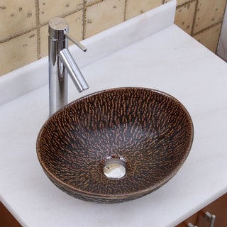 Elite 1552 2659 Oval Bronze Glaze Porcelain Ceramic Bathroom Vessel Sink With Faucet Combo