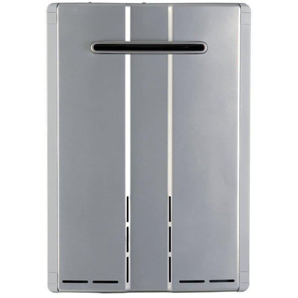 shop rinnai tankless water heater exterior 199k btu max flow 9 8 gpm w valve ru98ep silver. Black Bedroom Furniture Sets. Home Design Ideas