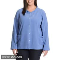 La Cera Women's Plus Size Snap Front Jacket with Embroidery Detail