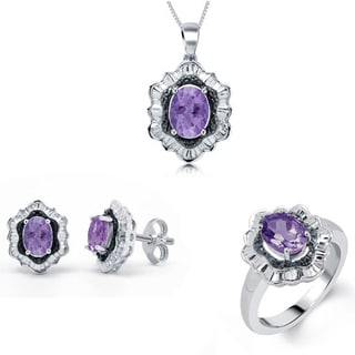 Divina Rhodium over Brass Amethyst Gemstone and Diamond Accent 3-piece Jewelry Set (I-J, I2-I3)
