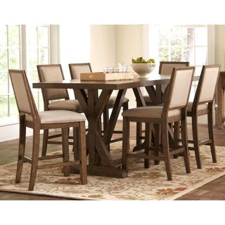 Sontuoso Rustic Trestle Base European Design Counter Height 7-piece Dining Set