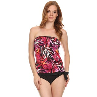 Dippin Daisy's Orange Leaves Bandeau Blouson Tie Tankini