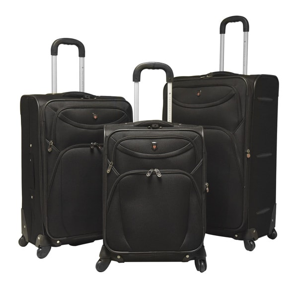 "Traveler's Club Cypress 3-piece Expandable Spinner Luggage Set - 29"" upright/25"" upright/20"" carry-on. Opens flyout."