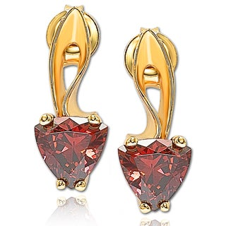 Suzy Levian Cubic Zirconia Golden Sterling Silver Solitaire Earrings
