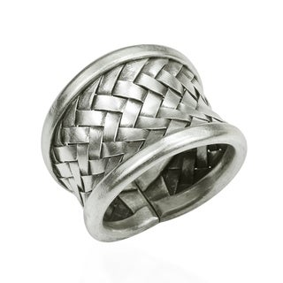 Handmade Woven Braided Weave Wide Front Design Sterling Silver Ring (Thailand)