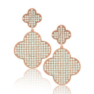 Suzy Levian Cubic Zirconia Sterling Silver Lucky Clover Earrings