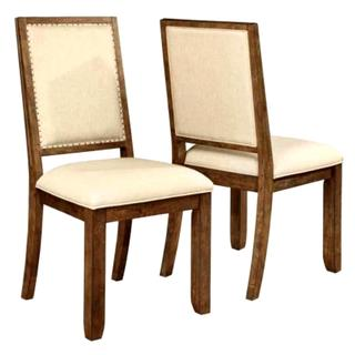 Sontuoso Rustic European Design Dining Chairs with Nailhead Trim (Set of 2)