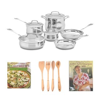 Cuisinart 44-10N Contour Stainless 10-Piece Cookware Set, 4-Piece Solid Beechwood Tool Set, Cookbook Bundle