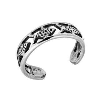 Handmade Fish Harmony Band Sterling Silver Toe or Pinky Ring (Thailand)