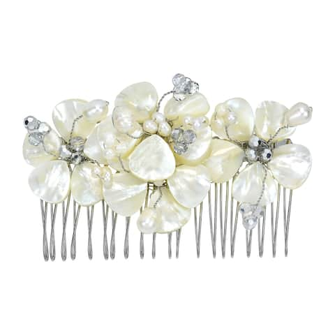 Gorgeous Bridal Floral Mother of Pearl Handmade Hair Comb (Thailand)