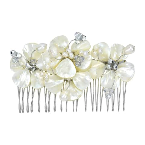 Handmade Gorgeous Bridal Floral Mother of Pearl Handmade Hair Comb (Thailand)