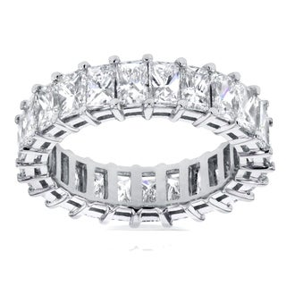Annello by Kobelli 14k White Gold 4 3/4ct TDW Princess Baguette Diamond Eternity Ring (H-