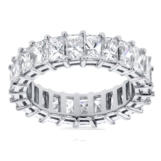 Annello by Kobelli 14k White Gold 4 3/4ct TDW Princess Baguette Diamond Eternity Ring