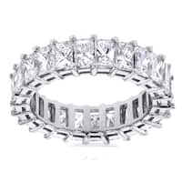 Annello by Kobelli 14k White Gold 4 3/4ct TDW Princess Baguette Diamond Eternity Ring