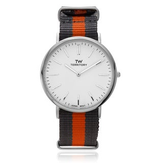 Territory Men's Silvertone White Dial Strap Watch