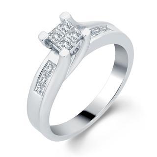 Divina 14k White Gold 1/2ct TDW Invisible-set Princess Diamond Ring (H-I, I1-I2)