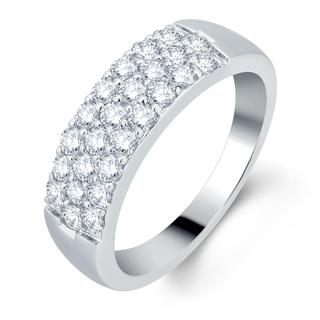 18k White Gold 1ct TDW Diamond Pave Band (F-G, VS1-VS2)