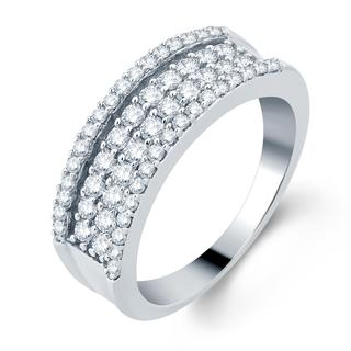 Divina 14k White Gold 7/8ct TDW Pave Diamond Band