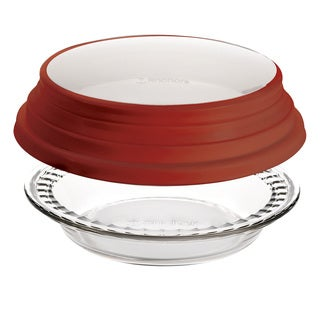 Anchor Hocking 9.5-inch Deep Pie with Red Cover
