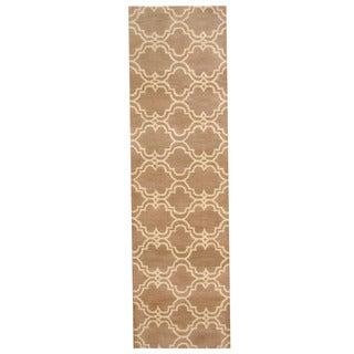 Herat Oriental Indo Hand-tufted Tibetan Tan/ Ivory Wool Rug (2'7 x 9')