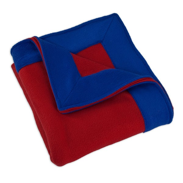 Fleece Red Simply Soft with 3-inch Mitered Royal Blue Edge