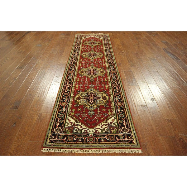 Free-pad Persian Red Vegetable Dyed Hand-knotted Wool Serapi Oriental Heriz Rug (3' x 10')