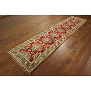 Hand-knotted Wool Diamond Shape Super Kazak Red Floral Area Rug (3' x 11')