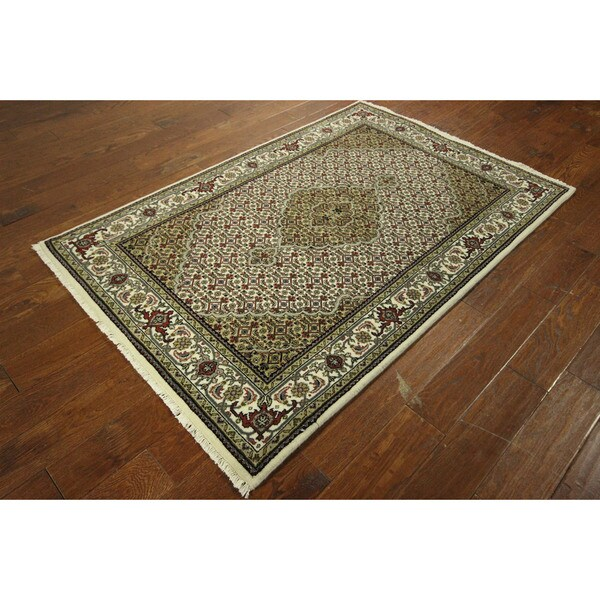 Hand Knotted Persian Tabriz Wool Area Rug Ebth: Shop Ivory Hand-knotted Tabriz Fish Design Wool/ Silk