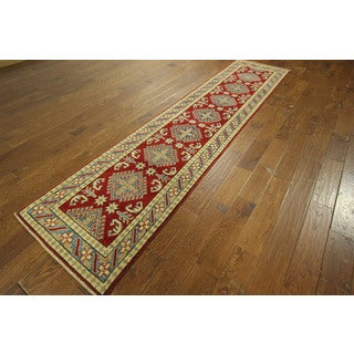 One of a Kind Oriental Hand-knotted Red Super Kazak Wool Area Rug (3' x 11')